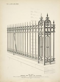 Wrought iron railing and standards