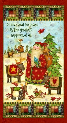 Santa's Journey Fabric Panel by Spectrix  | kgkrafts - Craft Supplies on ArtFire