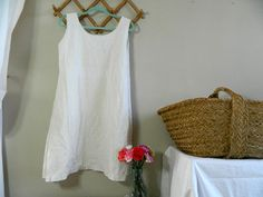 Large French cotton / linen nightdress by frenchvintagedream