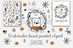 Watercolor Christmas Clipart by Natdzho on @creativemarket