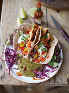 Tasty Fish Tacos from Jamie Oliver's Everyday Super Food. Fish recipes a plenty to chose from.