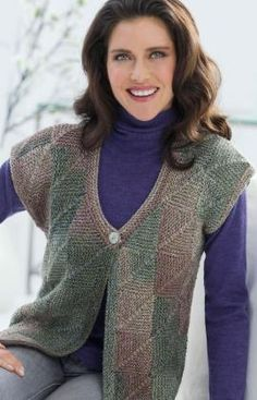 Mitered Square Vest Free Knitting Pattern Red Heart