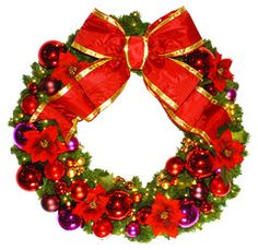 Designer Poinsettia wreath with red, cerise and gold ornaments, with red poinsettias and a red bow.  Lit with warm white LED mini lights.