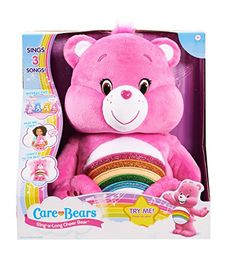 Have a sing along with all your Care Bear Friends! They recognize each other and sing & talk together. Play with just one or collect all 4 to hear them all. Includes 3 sing along songs, super soft plush, and sparkle belly artwork. Assortment is Cheer, Share, Funshine, Grumpy.