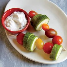 Cucumber-Tomato Skewers with Dilly Sauce | MyRecipes.com