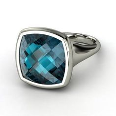 Pure Cushion Bezel Ring Checkerboard Cushion Pavilion London Blue Topaz Sterling Silver Ring