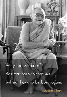Why are we born? ~ Ajahn Chah http://justdharma.com/s/nqoqd  Why are we born? We are born so that we will not have to be born again.  – Ajahn Chah  source: http://www.dharmaweb.org/index.php/No_Ajahn_Chah:_Reflections