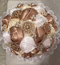 Crystal Bouquet, Crystal Brooch, Satin Roses, Satin Flowers, Brooch Bouquets, Brooches, Wedding Proposals, On Your Wedding Day, Lace Overlay