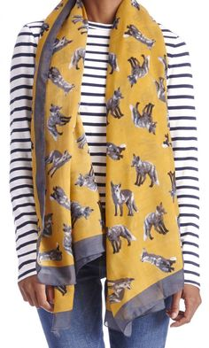 Lightweight mustard & grey scarf with a darling fox print