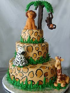 This is a cake for a 1 yr. old birthday. The top is a removable smash cake for the birthday boy. The cake is chocolate with chocolate chip . Jungle Theme Cakes, Jungle Theme Birthday, Safari Cakes, Jungle Party, Safari Party, Jungle Safari, Fancy Cakes, Cute Cakes, Lion King Cakes
