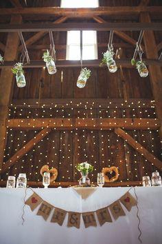 Head Table - wouldn't do hanging mason jars...