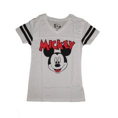 Disney Womens Misses Mickey Mouse V-Neck Athletic Jersey T Shirt(Large) - Walmart.com