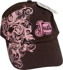 Womens Justin Boots Rhinestone Brown Pink Western Rodeo Ball Cap *NWT*