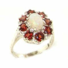 Luxury Ladies Solid Sterling Silver Natural Opal & Garnet Large Cluster Ring - Size 5.5 - Finger Sizes 5 to 12 Available LetsBuySilver. $139.00