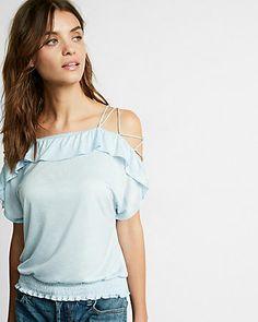 760ea99219d Lace-Up Shoulder Smocked Top Blue Women s Medium