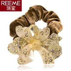 Korean headdress hair band head flower velvet ring Fengwujiutian Rhinestone Acrylic