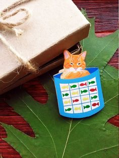 Wooden Magnet Red Cat Acrylic Paints Hand Painted от LovePyramid