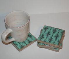 Turquoise Dream: 4 Tile Coasters by Confetti25 on Etsy, $15.00