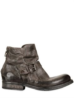 CORVARI back zip vintage leather mid boots with buckle detail & stacked wooden heel & sole
