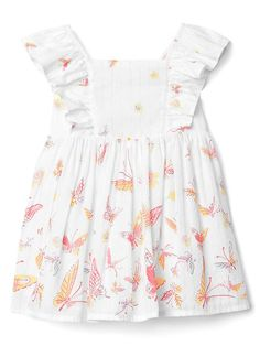 Print ruffle dress