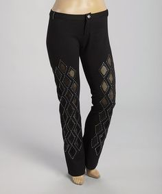 Look what I found on #zulily! Black Embellished Diamond Pants - Plus by Bus Stop #zulilyfinds