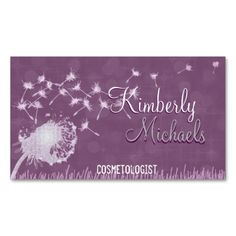 Dandelion in the Wind Business Card Template. Stand out from the rest of the competition with the beautiful glitter look business card. The card contains no glitter, it's just the artwork than makes it look glittery. Put some sparkle in your life.