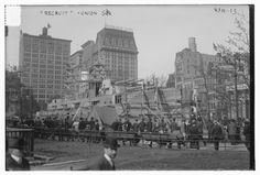 In during World War I, the U. Navy set up a curious recruitment tool in Union Square — a life size wooden battleship called, appropriately, the USS Recruit. Courtesy, Library of Congress. New York Street, New York City, The Bowery Boys, Joining The Navy, City Scene, Union Square, Back In Time, Historical Pictures, Battleship