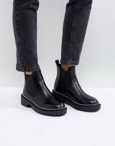 5585d3657cef17 RAID Adelina Black Chunky Studded Chelsea Boots