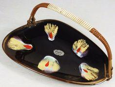 Vintage 50er Jahre Jasba Keramik - Dekorative Anbiete-Schale mit Henkel Konfekt | eBay