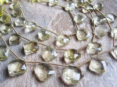 Lemon Topaz Faceted Diamond Drops Full Strand by loveofjewelry, $29.99