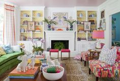 The Color-Happy Den  - HouseBeautiful.com
