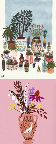 Illustrations of vases