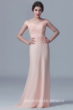 Off-the-shoulder Peach Lace and Chiffon Elegant V-neck Bridesmaid Dress