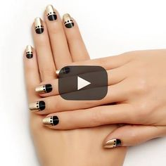 gold plated moon by essie - elegance never goes out of style with this eye-catching black and gold nail art design.