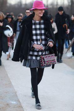 Giovanna Battaglia in gingham. #streetstyle at Paris Fashion Week Fall 2014 #PFW