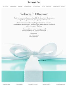 Tiffany welcome email newlsetter/ www.datemailman.com