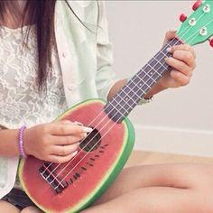 Watermelon ukulele- going to try and learn to play the ukuele.will be a fun and interesting hobby to take up i think. Arte Do Ukulele, Cool Ukulele, Ukulele Songs, I Love Music, Music Is Life, Painted Ukulele, Painted Guitars, Ukulele Design, Dibujos Anime Chibi