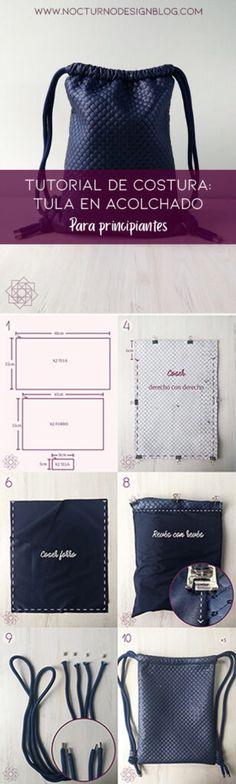 Tutorial de costura: Tula en acolchado. – Nocturno Design Blog Elegante Y Chic, Design Blog, Petunias, Gym Bag, Couture, Sewing, Diy, Fashion, Couture Facile