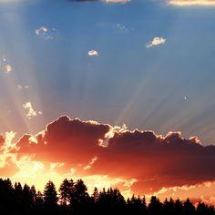 Bavaria. Sunny sunset .