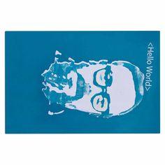"Theresa Giolzetti ""Hello World Dennis Ritchie"" Blue White Decorative Door Mat"