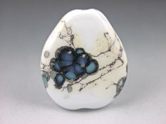 """Blueberry""...lampwork glass focal bead by Mikelene. This bead was featured in Val Cox's book...Frit Secrets...great book!"