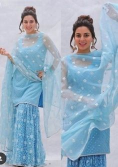 Buy Blue Color Sharara Suit by Akanksha Singh at Fresh Look Fashion Indian Gowns Dresses, Pakistani Bridal Dresses, Pakistani Dress Design, Pakistani Outfits, Gharara Designs, Kurti Designs Party Wear, Indian Wedding Outfits, Indian Outfits, Red Lehenga