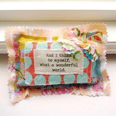 Handmade Small  Pillow Lavender Sachet,  Appliqued , Wonderful World - No.82. $6.95, via Etsy.