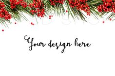 Styled stock photography + FREE Cropped Image | Digital Image | Mockup | JPG Digital Image | Holiday Greenery and Red Berries | Christmas styled stock image