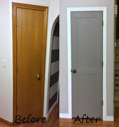 Flat Panel Door Update Flat Panel Door Update David Hassa davidhassa haus Anyone lucky enough to have these old probably cheap builder-grade flat-panel doors nbsp hellip Home Upgrades, Closet Door Makeover, Cabinet Door Makeover, Diy Door, Door Redo, Panel Doors, Trim On Doors, Grey Doors, Home Organization Tips