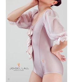 Cookie color Leotard in a cookie color, with a loose sleeve of Elastic gauze.