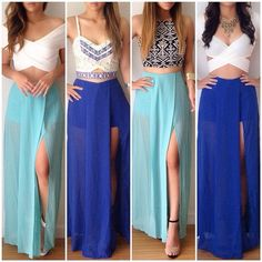 39 Ideas For Skirt Outfits Fancy Crop Tops Skirt Outfits, Dress Skirt, Dress Up, Maxi Skirts, Blue Skirts, Long Skirts, Dress Long, Blouse Dress, Long Dresses