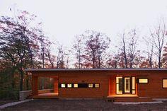 Modern Prefab Cabin House | Wisconsin | Butterfly Roof Cedar Siding Stone Wall | RES4