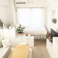 Korean Apartment Interior, Townhouse Interior, Condo Interior, Studio Apartment Design, Studio Apartment Decorating, Minimalist Studio Apartment, Deco Studio, Studio Room, Small Room Interior