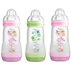 2-count White Mam Baby Bottles For Breastfed Babies Anti Colic 5 Ounces